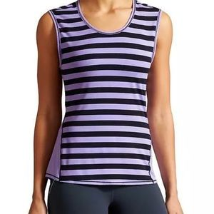 ATHLETA Chi Muscle Tank Top Ocean Stripe Purple